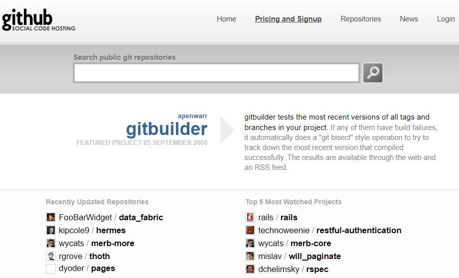 github old website