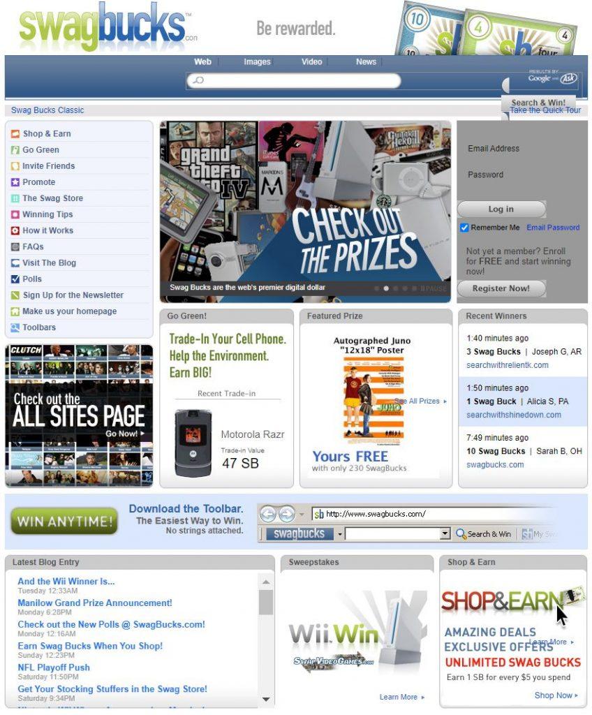 swagbucks old website