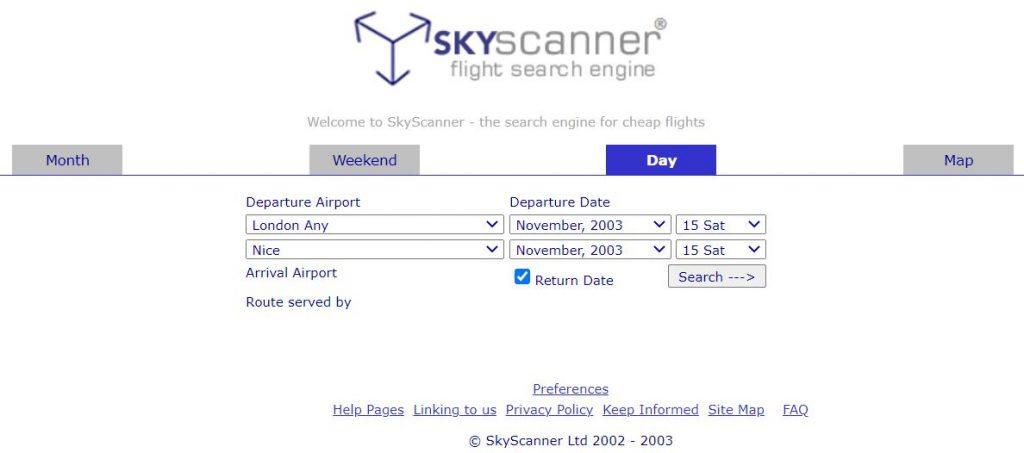 skyscanner old website